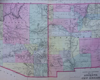 1888 ARIZONA & NEW MEXICO County and Township large rare original antique Mitchell Map - Wall Decor - Home Decor - Gift Idea - State Map