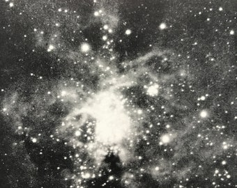 1913 The Looped or Spider Nebula Original Antique Print - Astronomy - Star Cluster - Mounted and Matted - Available Framed