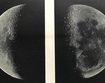 1897 Moon Original Antique Lithograph - Mounted and Matted - Astronomy - Lunar Art - Vintage Wall Decor - Available Framed