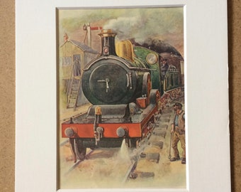 1920s A Modern Locomotive Original Vintage Print - Mounted and Matted - Available Framed - Vintage Train Print - Railway - Railroad