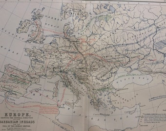 1876 Europe showing the Barbarian Inroads on the Fall of the Roman Empire Original Antique Map - Classics - Ancient Rome