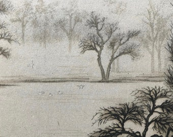 1946 Morning mist in St James' Park Original Vintage Chiang Yee Illustration - London - Mounted and Matted - Available Framed