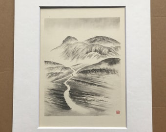 1948 Edinburgh - Arthur's Seat in the Morning Mist Original Vintage Chiang Yee Illustration - Mounted and matted - Available Framed