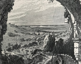 1880 The Valley of Beit Jibrin Original Antique Engraving - Mounted and Matted - Available Framed - Landscape - Bayt Jibrin - Palestine