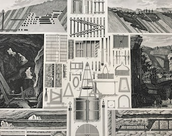 1849 Mining Equipment and Engineering Diagram Large Original Antique Print - Mounted and Matted - Victorian Technology - Available Framed