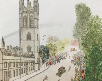 1948 Oxford - May Day Service on Magdalen Tower Original Vintage Chiang Yee Illustration - Mounted and matted - Available Framed