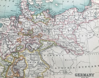 1912 Germany Original Antique Map - Mounted and Matted - Available Framed