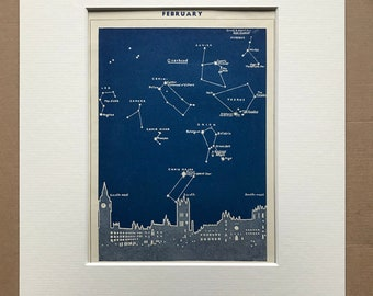1940s February Star Map seen over London Original Vintage Print - Mounted and Matted - Astronomy - Celestial Art - Available Framed