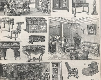 1897 Furniture Styles Original Antique Print - Bureau - Cabinet - Chair - Chaise Lounge - Mounted and Matted - Available Framed