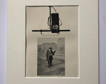 1904 Original Antique Photo Print - Lord Kelvin's Rail-Bond Tester - Railways - Technology - Victorian Wall Decor - Available Framed