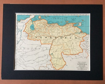 1937 VENEZUELA Original Vintage Map, 11 x 14 inches, Rand McNally, Home Decor, Available Mounted and Matted - South America