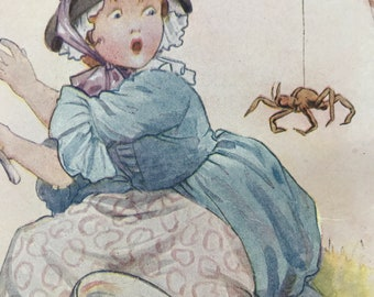1917 Little Miss Muffet Original Vintage Margaret W. Tarrant Illustration - Matted and Available Framed - Nursery Rhyme