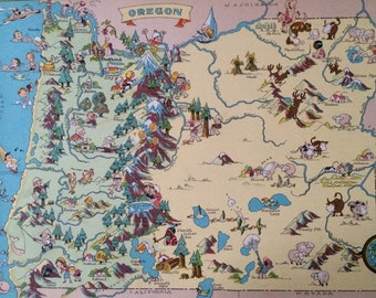 1935 Oregon Original Vintage Cartoon Map - Ruth Taylor White - Mounted and Matted - Whimsical Map - United States