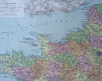 Map Of North West France.Map Of North France Etsy