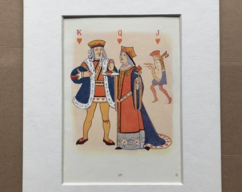 1917 The Queen of Hearts Original Vintage Margaret W. Tarrant Illustration - Matted and Available Framed - Nursery Rhyme - Vintage Decor