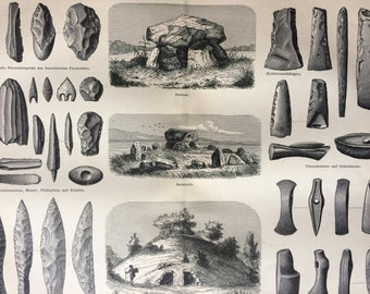 1897 Stone Age Culture Large Original Antique Lithograph - Available Mounted and Matted - Weapons, Ornaments, Architecture - Vintage Decor