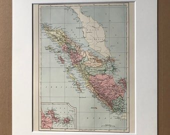1875 Sumatra Original Antique Map - Indonesia Map - Decorative Wall Art - Cartography - Available Matted and Framed