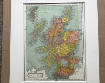 1863 Scotland Original Antique Map - Vintage Wall Map - Available Framed