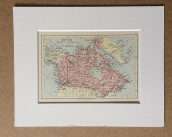 1895 British North America Canada Original Antique World Map - Mounted and Matted - 8 x 10 inches - Framed Map - Framed Vintage Art