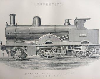 1891 Locomotive Original Antique Steel Engraving - Compound Express Locomotive by F. W. Webb - Railwayana - Train - Railway - Wall Decor