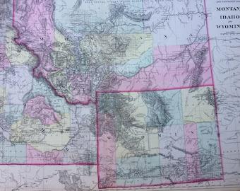 1888 MONTANA, IDAHO & WYOMING County and Township large rare original antique Mitchell Map  - Wall Decor - Home Decor - Gift Idea