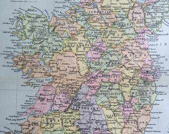 1890 IRELAND Original Antique Map, 10.5 x 12.5 inches, historical wall decor, Home Decor, Cartography, Geography