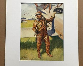 1927 British Fighter Pilot Original Vintage Print - Aircraft - Airplane - Mounted and Matted - Available Framed