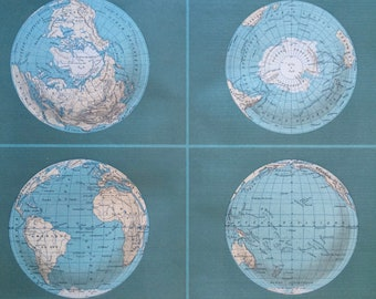 1892 Terrestrial Globe Large Original Antique World Map - 14.5 x 18 inches - Decorative Art - Cartography - Vintage Wall Decor