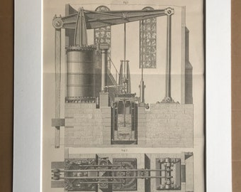 1891 Pumping Engine Original Antique Print - Machinery Diagram - Available Mounted and Matted