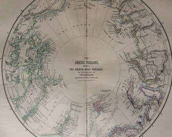 1871 The Arctic Regions showing the North West Passage as determined by Cap. R. McClure and other arctic voyages Original Antique Map