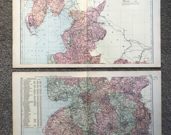 1896 Lancashire Set of 2 Large Original Antique Maps showing railways, roads, Stations, Crossroads, Canals and Parliamentary Divisions