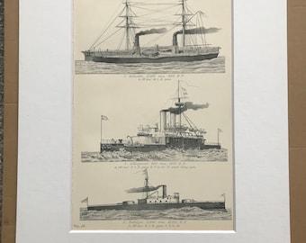 1891 War Vessels Original Antique Print - Military Decor - Inflexible, Collingwood and Trafalgar - BLR & MLR Guns - Available Framed