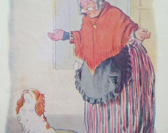 1917 Old Mother Hubbard Vintage Nursery Rhyme Margaret W. Tarrant Illustration - Matted and Available Framed - Wall Decor - Nursery Decor