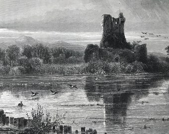 1876 Ross Castle, Killarney Original Antique Wood Engraving - Mounted and Matted - Ireland - County Kerry - Decorative Art