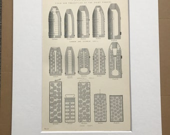 1891 Field Gun Projectiles of the Chief Powers Original Antique Print - Shrapnel Shell - Military Decor - Case Shot, Segment Shell