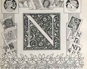1897 Letter N - Decorative Alphabet Letter Original Antique Print - Birthday Gift - Mounted and Matted - Available Framed