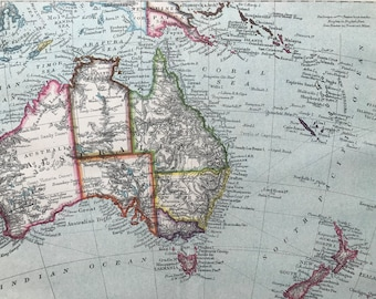 1880 Australasia Original Antique Map - Mounted and Matted - Available Framed -  Australia - New Zealand - Oceania - Vintage Map