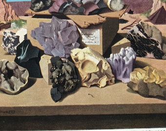 1940s British Minerals Original Vintage Print - Mineralogy - Amethyst, Quartz, Fluorspar, Galena - Mounted and Matted - Available Framed