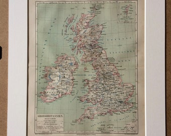 1876 Great Britain and Ireland Large Original Antique Map - British Isles - Available Mounted and Matted - Wall map - Vintage Wall Decor