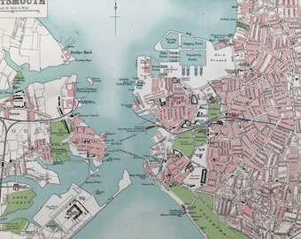 1903 Portsmouth Original Antique Map - City Plan - Hampshire - Mounted and Matted - Available Framed
