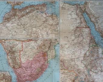 1914 Atlas Lands, Nile Lands & Cape Lands Large Original Antique Map, 17 x 22 inches, historical wall decor, Debes Atlas, Home Decor