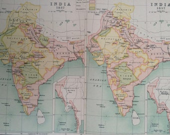 1908 India Historical Map showing India in 1837 and 1857 Original Antique Map - Available Mounted and Matted or Framed - Cartography