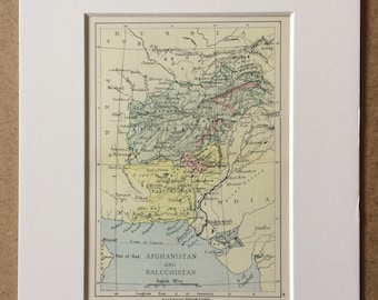 1895 Afghanistan and Baluchistan Original Antique World Map - Mounted and Matted - 8 x 10 inches - Framed Map - Framed Vintage Art