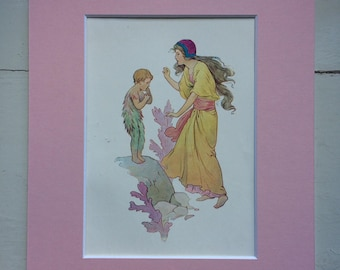 1920 Original Vintage Harry Theaker Water Babies Illustration - Available Framed - 8 x 10 inches - Nursery Decor - Children's book