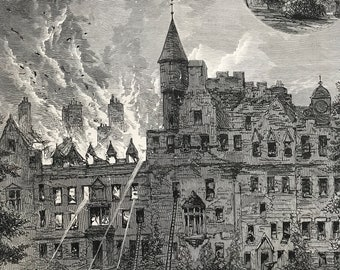 1883 Fire at Cortachy Castle, Scotland, The Seat of the Earl of Airlie Original Antique Engraving - Victorian Decor - Angus