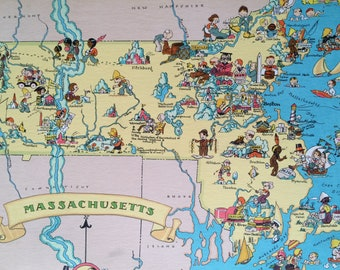 1935 Massachusetts Original Vintage Cartoon Map - Ruth Taylor - Available Mounted and Matted - Whimsical Map - United States