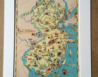 1935 New Jersey Original Vintage Cartoon Map - Ruth Taylor - Mounted and Matted - Whimsical Map - United States