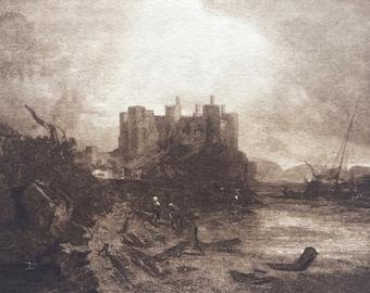 1902 Conway Castle by Turner Original Antique Matted Photogravure - Fine Art Landscape - William Turner - Sepia - Wales