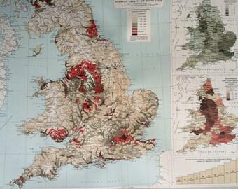1903 ENGLAND & WALES (Population) Large Original Antique Map, 17.5 x 23 inches, historical wall decor, Bartholomew map, Home Decor