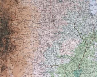 1922 UNITED STATES (Central) Large Original Antique Times Atlas Physical Map - Texas - Oklahoma - Louisiana - Nebraska - Rocky Mountains
